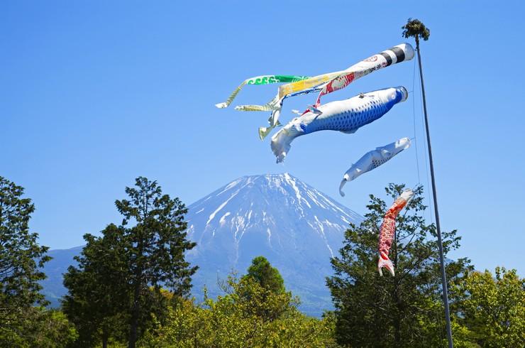 Коинобори – тканевые изображения карпов кои во время празднования «дня мальчиков». Япония