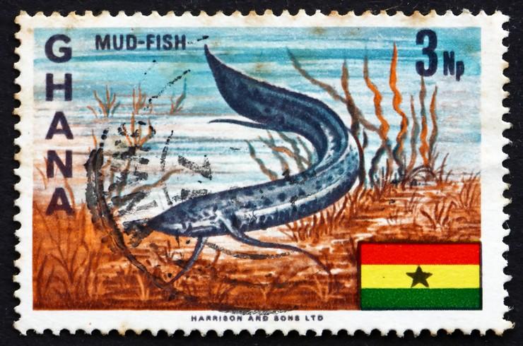 Марка с изображением протоптера. Гана, 1967