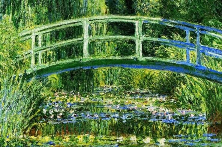 Фрагмент картины К. Моне «Японский мостик (Пруд с водяными лилиями)» (1899)